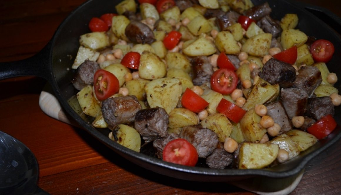 Recipe - Warm sausage, potato and chickpea salad | Border Park Organics