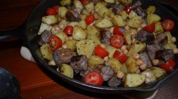 Recipe - Warm sausage, potato and chickpea salad | Border Park Organics