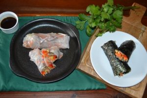Recipe - Vietnamese Rice Paper Rolls using rice paper or Nori sheets