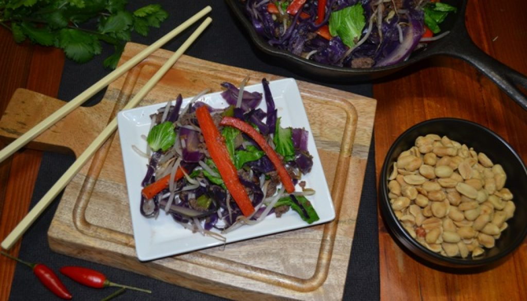 Recipe - Thai Beef Mince and Rainbow Vegie Stir fry | Border Park Organics
