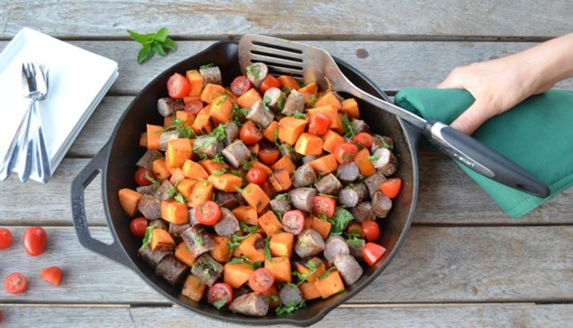 Recipe - Sausage, sweet potato and mint salad | Border Park Organics