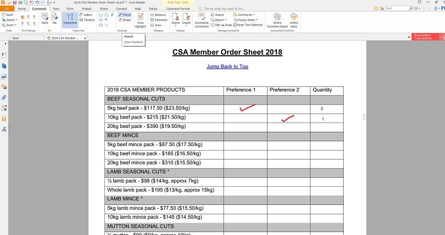 Order Sheet, Help